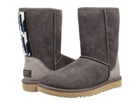Ugg Classic Short Serape Beads Charcoal Twinface Women's Pull On Boots Gray