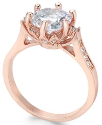 Charter Club Rose Gold Tone Round Crystal Ring Only At Macy's