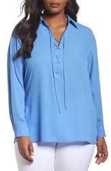 Foxcroft Plus Size Women's Lace Up Blouse Periwinkle