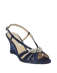 Nina Viani Satin Wedge Sandals Navy Blue