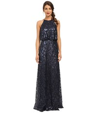 Donna Morgan Halter Sequin Midnight Women's Dress Navy