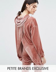 One Day Petite Hooded Longline Sweat Top With Wrap Back Detail Pink