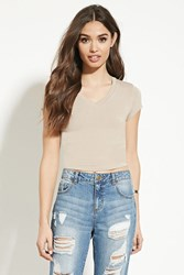 Forever 21 V Neck Crop Top Taupe