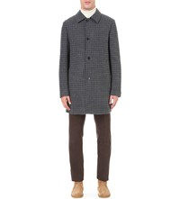 Private White Dogtooth Wool Overcoat