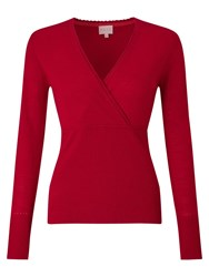 East Wrap Front Knit Top Scarlet