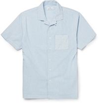 Hentsch Man Striped Cotton Shirt Blue