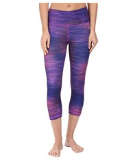 Adidas Performer Mid Rise 3 4 Tights Shock Purple Print Matte Silver Women's Workout