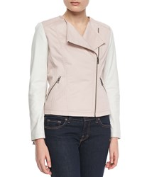 Bagatelle Colorblock Motorcycle Jacket Pink White