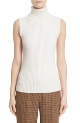 Michael Kors Women's Sleeveless Ribbed Stretch Cashmere Turtleneck Sweater