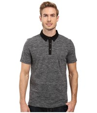 Kenneth Cole Short Sleeve Space Dye Polo Charcoal Heather Men's Clothing Gray