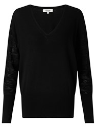 Alice By Temperley Somerset V Neck Pointelle Jumper Black