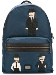 Dolce And Gabbana 'Vulcano' Sicilian Men Patch Backpack Blue