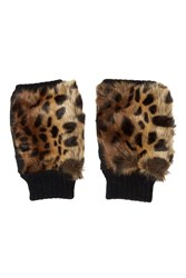 Topshop Faux Fur Handwarmers Brown