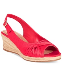 Bella Vita Sangria Too Espadrille Platform Wedge Sandals Women's Shoes Red Silk