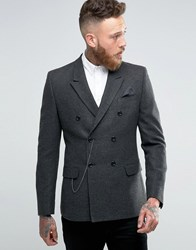 Asos Skinny Double Breasted Blazer In Grey Herringbone With Watch Chain Grey