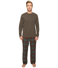 Woolrich Fireside Flannel Set Olive Plaid Men's Pajama Sets