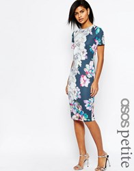 Asos Petite Floral T Shirt Scuba Bodycon Midi Dress Navy