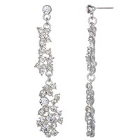 John Lewis Cubic Zirconia And Glass Stone Long Cluster Drop Earrings Silver