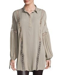 Dance And Marvel Long Sleeve Button Placket Tunic W Cutouts Olive