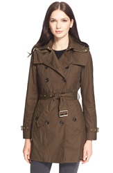 Burberry Brit 'Reymoore' Trench Coat With Detachable Hood And Liner Olive