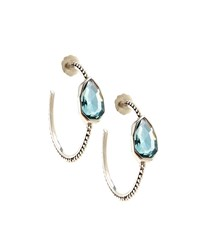 Stephen Dweck Sterling Silver And Aqua Quartz Cathedral Hoop Earrings Women's