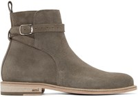 Ami Alexandre Mattiussi Ssense Exclusive Taupe Suede Buckle Boots