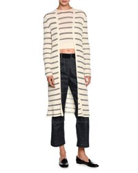Giorgio Armani Striped Long Open Cardigan Off White