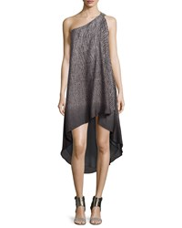Halston One Shoulder Asymmetric Wrap Dress Gray
