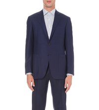 Canali Super 130'S Wool Travel Jacket Blue