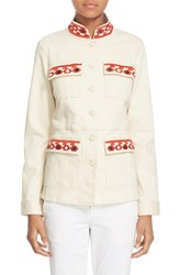 Women's Tory Burch 'Berkley' Embroidered Mandarin Collar Jacket