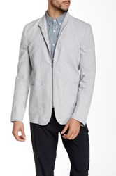 Kenneth Cole Solid Zip Linen Blend Blazer Gray