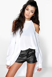 Boohoo High Neck Cut Out Shoulder Blouse Ivory