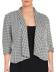 Nipon Boutique Plus Three Quarter Sleeve Open Houndstooth Jacket Black Ivory