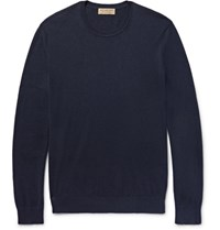 Burberry Elbow Patch Cashmere And Cotton Blend Sweater Navy