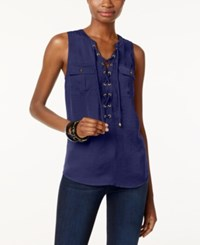 Inc International Concepts Sleeveless Lace Up Top Only At Macy's Tartan Blue