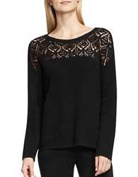 Vince Camuto Pointelle Long Sleeve Lace Yoke Crewneck Sweater Rich Black
