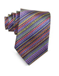Missoni Diagonal Stripe And Signature Woven Silk Narrow Tie Blue Yellow