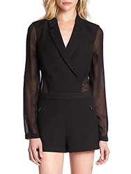 Bcbgmaxazria Elishane Tuxedo Inspired Short Jumpsuit Black