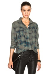 Rta Joplin Top In Green Checkered And Plaid