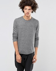 Asos Cotton Jumper With Curved Hem Black And White Twist Grey