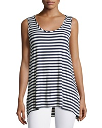 Neiman Marcus Striped Scoop Neck Tank Navy White