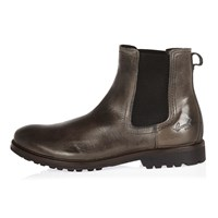 River Island Mens Grey Leather Cleated Sole Chelsea Boots