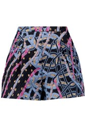 Peter Pilotto Circuit Metallic Brocade Shorts Navy