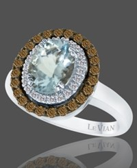 Le Vian Aquamarine 1 2 5 Ct. Chocolate Diamond 1 2 Ct. T.W. And White Diamond Accent Oval Ring In 14K White Gold