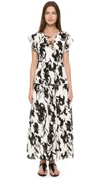 Thakoon Lace Up Floral Dress Black White