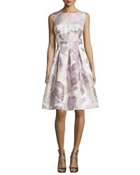 Lafayette 148 New York Clarice Floral Print Tea Length Dress Sterling Multi Women's Sterling Multi