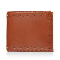 Fred Perry Punched Brogue Billfold Wallet Tan And Navy