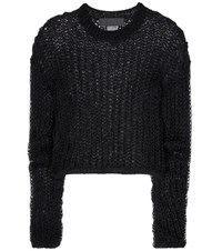 Haider Ackermann Open Knit Cotton And Wool Sweater Black
