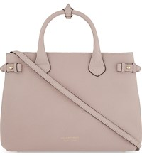 Burberry Banner Medium Checked Trim Leather Tote Pale Orchid