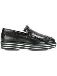 Paloma Barcelo Striped Platform Loafers Black